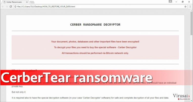 CerberTear virusas užkoduoja daugelį kompiuteryje saugomų failų