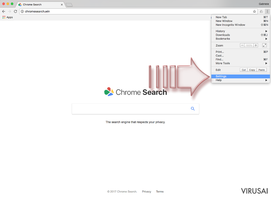 Chromesearch.win virusas ekrano nuotrauka