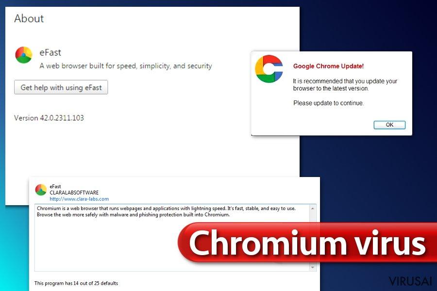 Chromium virusas ekrano nuotrauka