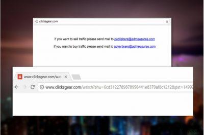 Clicksgear.com viruso iliustracija