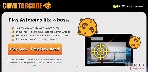 Comet Arcade virusas ekrano nuotrauka