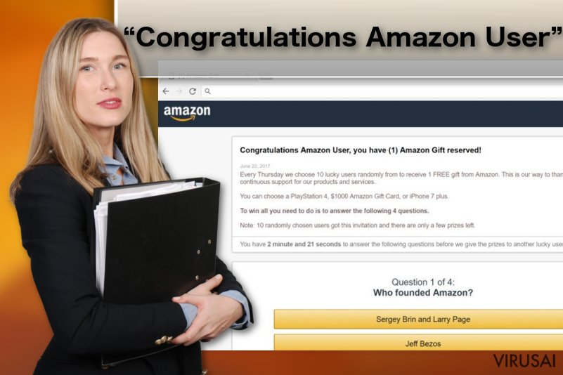"""Congratulations Amazon User"" virusas ekrano nuotrauka"