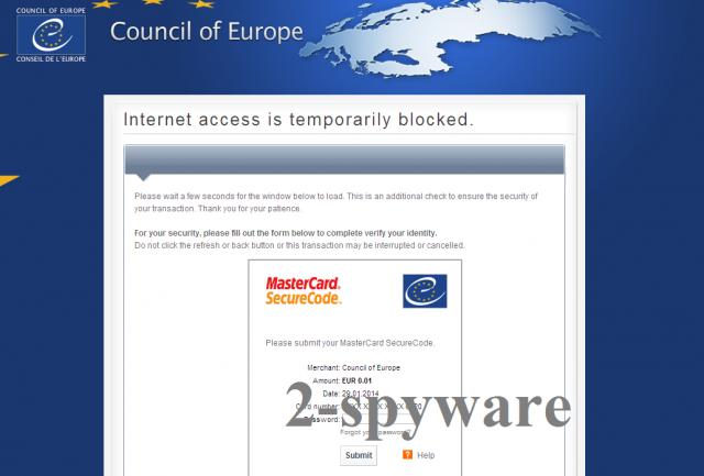 Council of Europe virusas ekrano nuotrauka