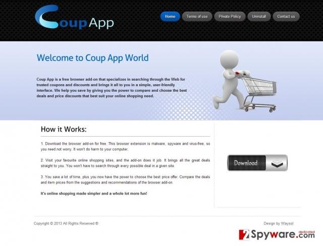 Coup App reklamos ekrano nuotrauka
