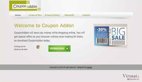 CouponAddon virusas ekrano nuotrauka