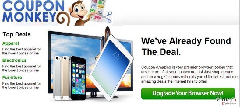 Coupon Monkey reklamos ekrano nuotrauka