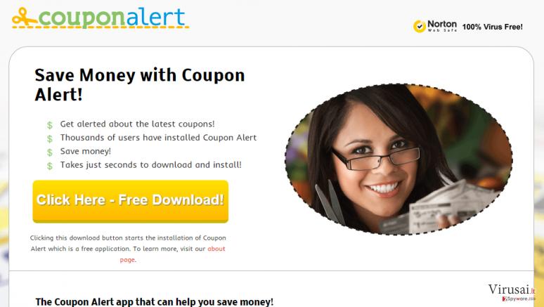 Coupon Alert reklamos ekrano nuotrauka