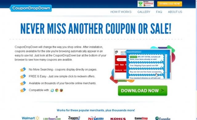 CouponDropDown ekrano nuotrauka