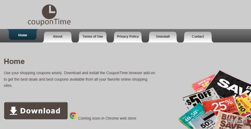 CouponTime virusas ekrano nuotrauka