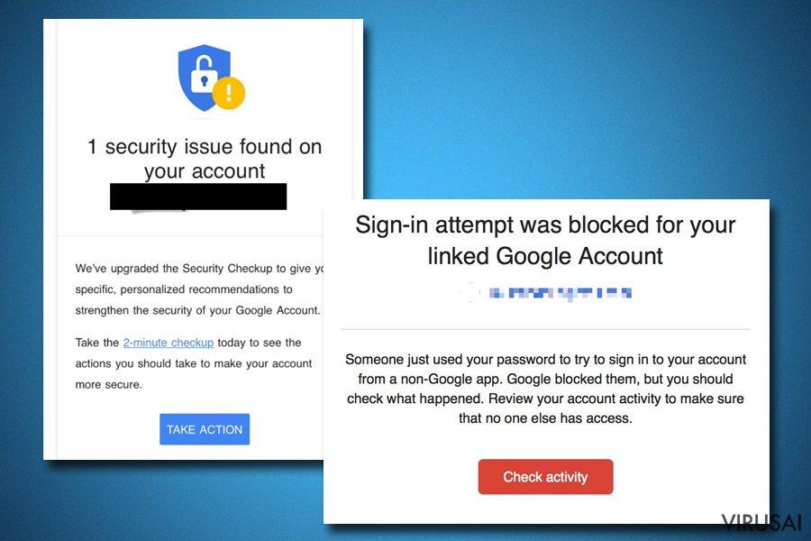 """""""Google Critical Security Alert"""" gali būti tikras"""