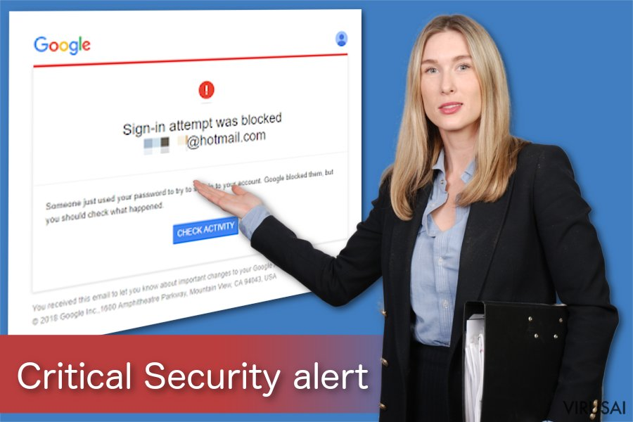 """Google Critical Security Alert"" pranešimas"