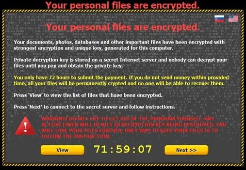 Critroni virusas ekrano nuotrauka