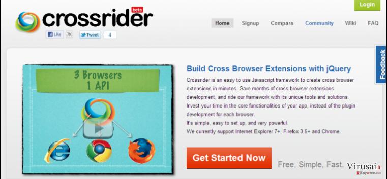 Search.crossrider.com peradresavimai ekrano nuotrauka