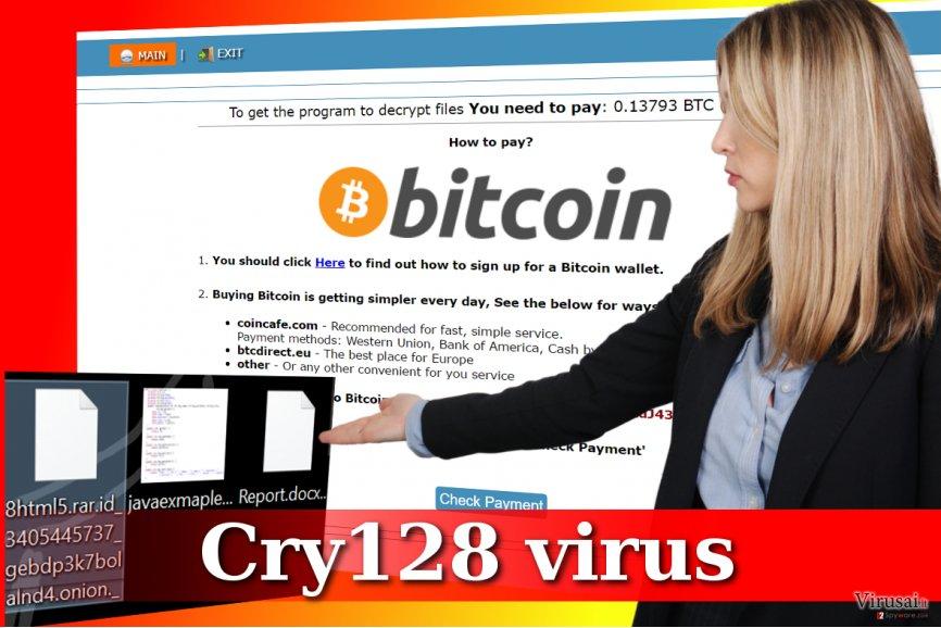 Cry128 viruso bei užkoduotų failų pavyzdžiai