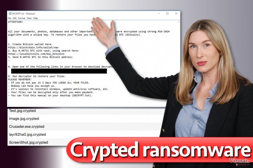 Crypted virusas ekrano nuotrauka