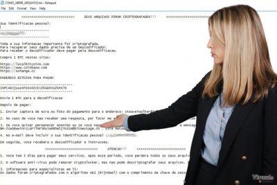Cryptolocker Portuguese viruso iliustracija