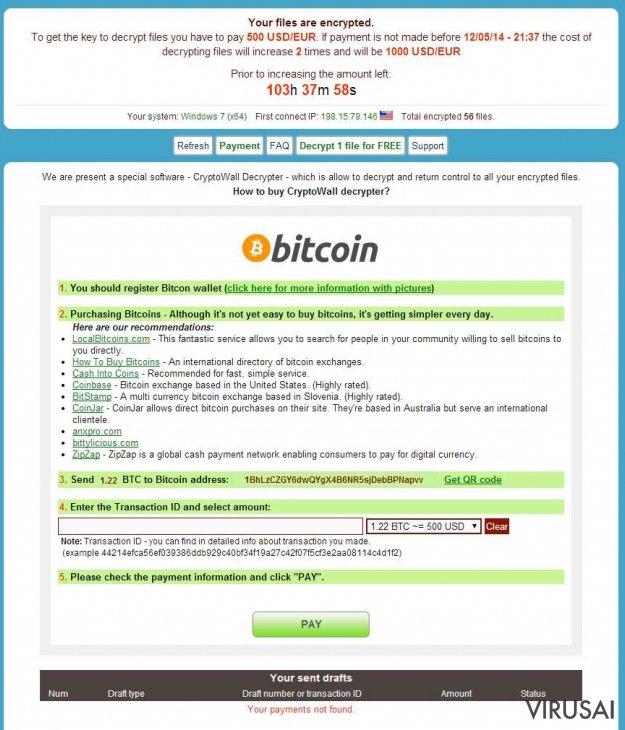 CryptoWall virusas ekrano nuotrauka