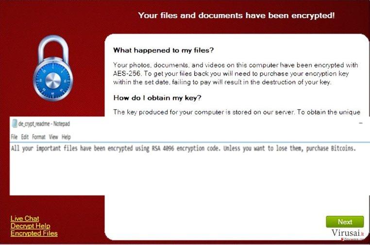 CryptXXX virusas ekrano nuotrauka