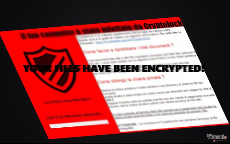 Išpirkos raštelis, kurį pateikė CryptoLocker 5.1 virusas