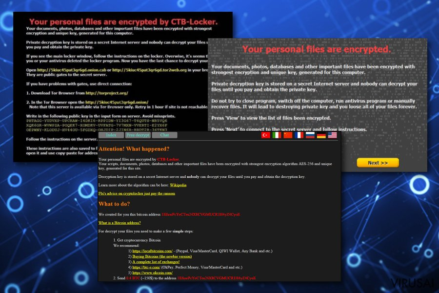CTB Locker virusas ekrano nuotrauka