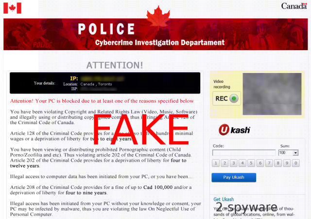 Cybercrime Investigation Department virus ekrano nuotrauka