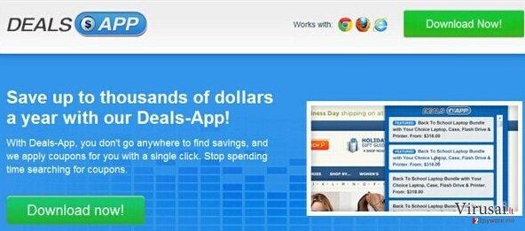 Deals App reklamos ekrano nuotrauka