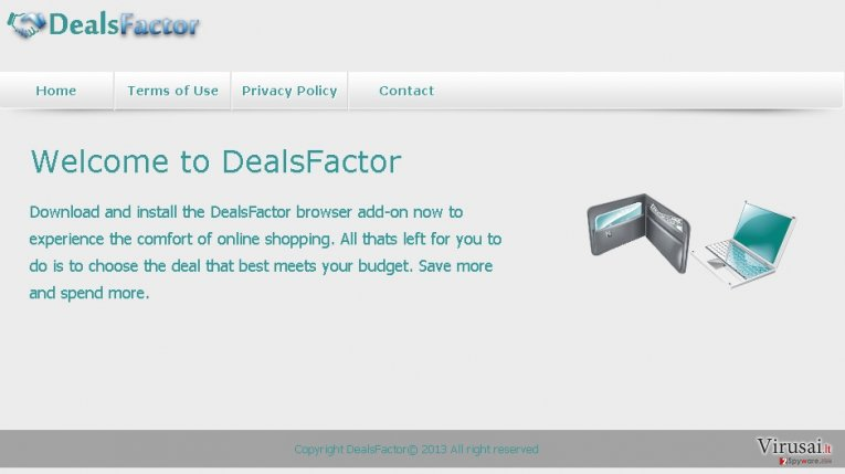 DealsFactor virusas ekrano nuotrauka