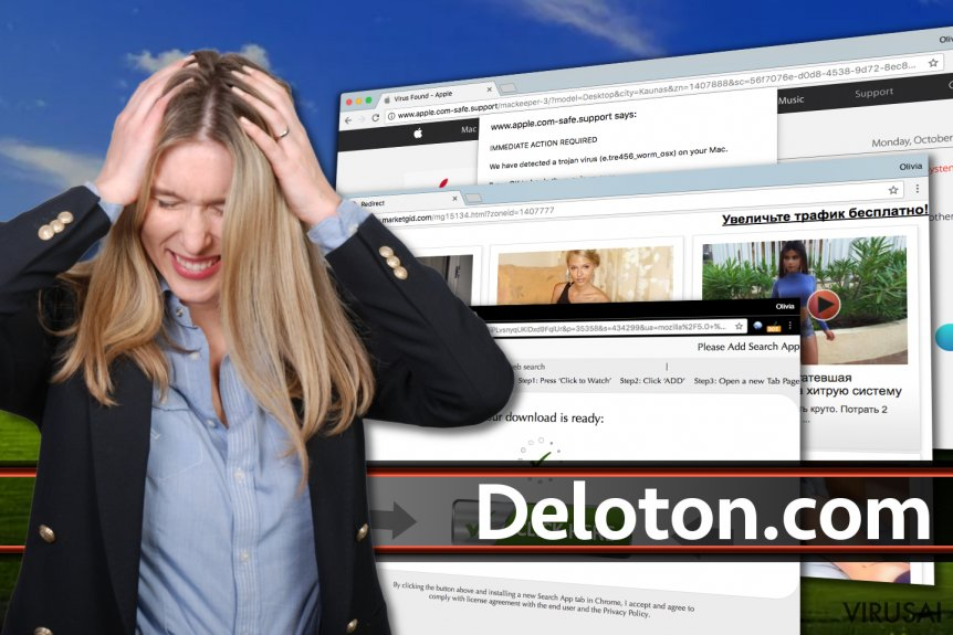 Deloton.com virusas ekrano nuotrauka