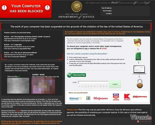Department of Justice Virus ekrano nuotrauka