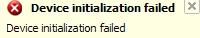 Device initialization failed ekrano nuotrauka