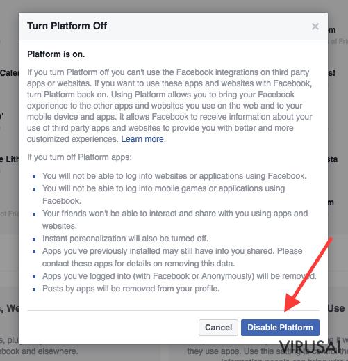 Facebook nustatymų pakeitimas