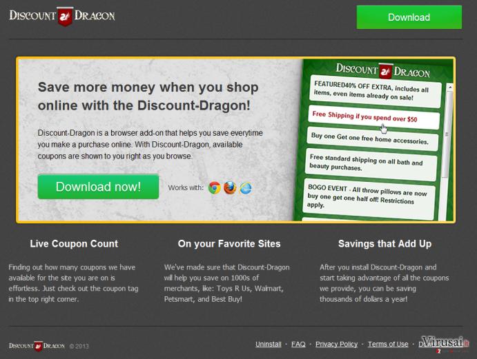 Discount Dragon virusas ekrano nuotrauka