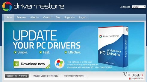 Driver Restore programos pavyzdys