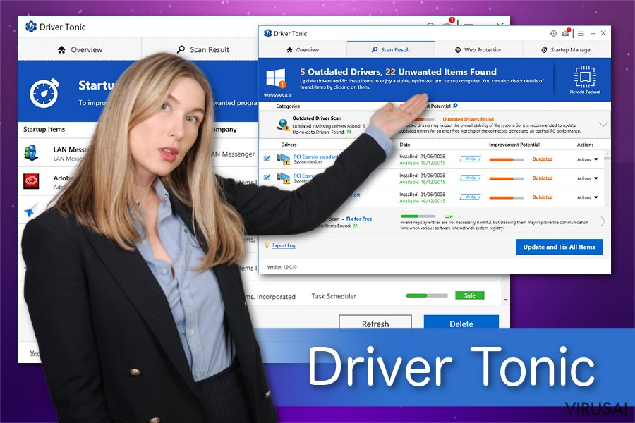 Driver Tonic nepageidaujama aplikacija