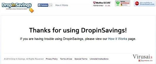 DropinSavings virusas ekrano nuotrauka