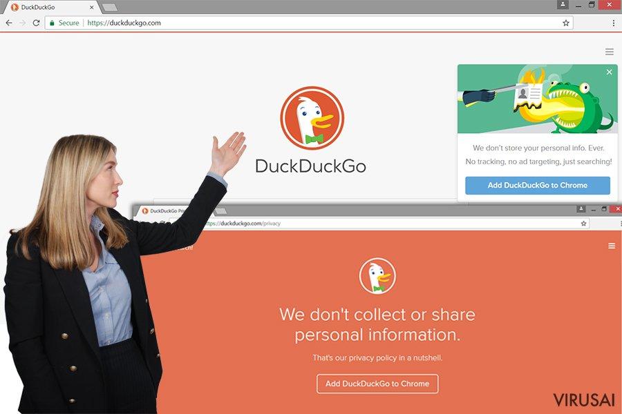 DuckDuckGo ekrano nuotrauka