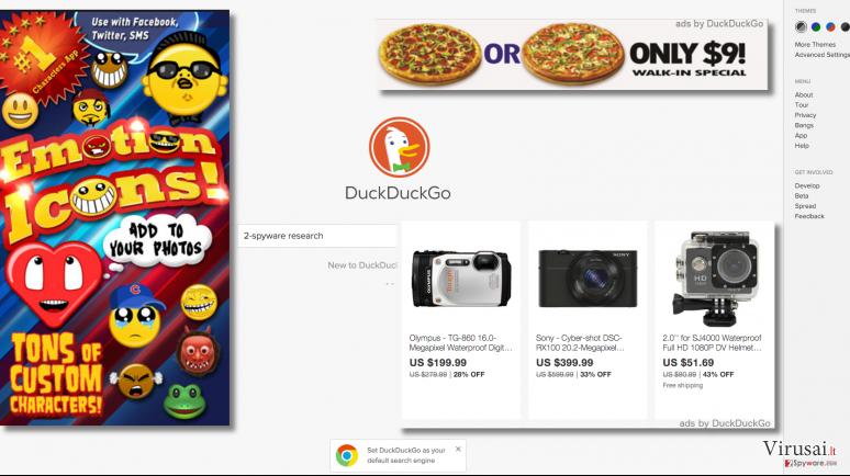 Reklaminis turinys, kurį pateikia DuckDuckGo virusas