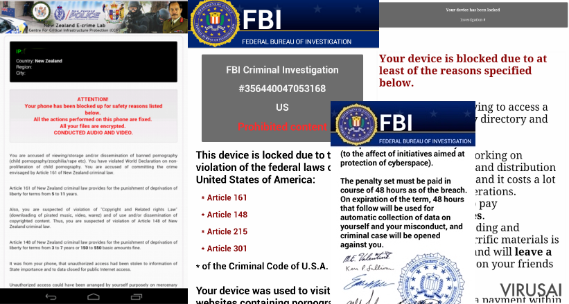 Android FBI viruso nuotrauka