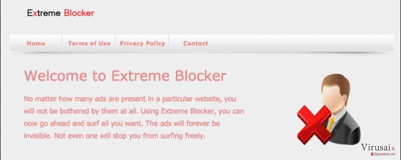 Extreme Blocker virusas ekrano nuotrauka
