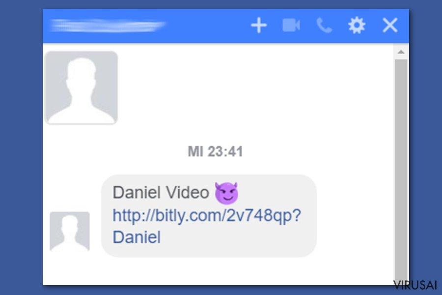 Facebook video viruso pavyzdys