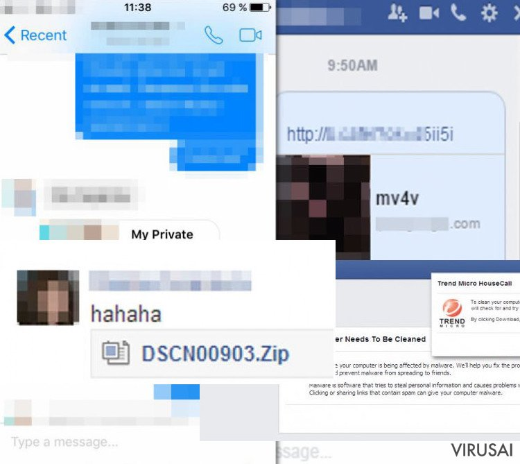 Facebook viruso pavyzdys