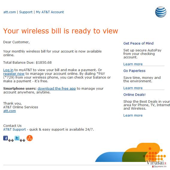 ATT email ekrano nuotrauka