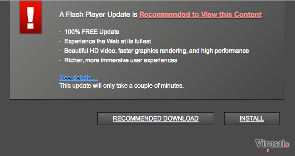 Adobe Flash Player install virusas ekrano nuotrauka
