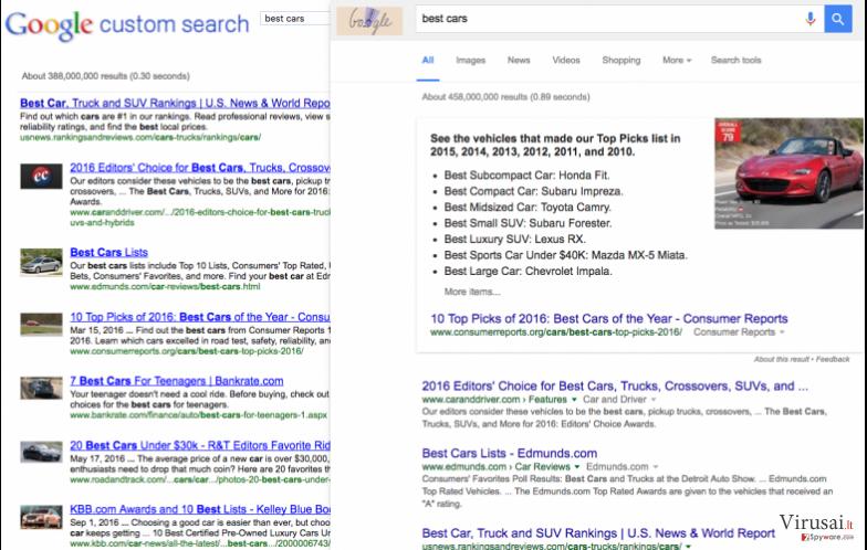 Nuotraukoje matoma paieškos rezultatų, kuriuos pateikia 9o0gle.com virusas ir Google, pavyzdžiai.