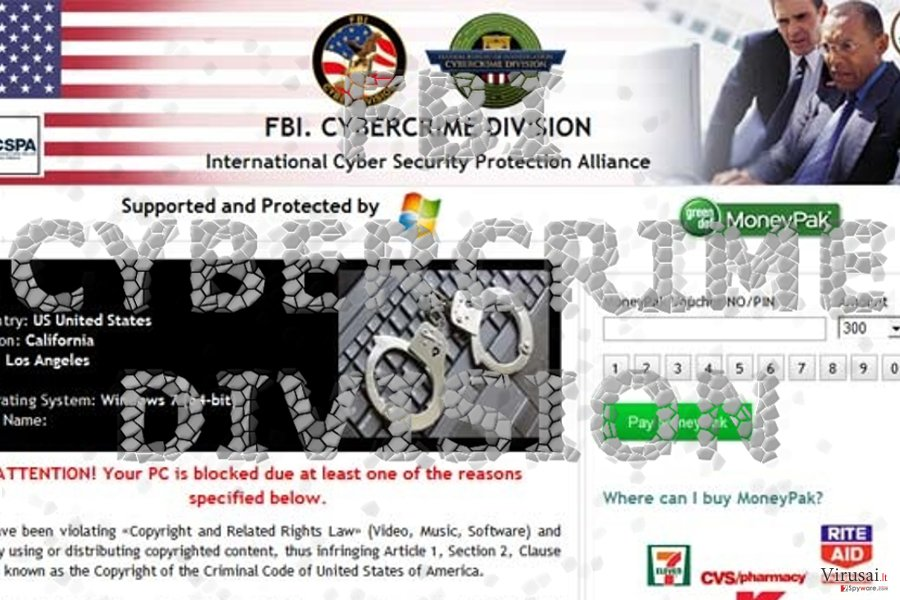Apgaulingas FBI Cybercrime Division viruso rodomas pranešimas