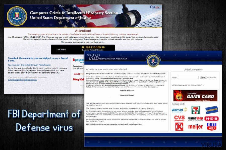 FBI virusas ekrano nuotrauka