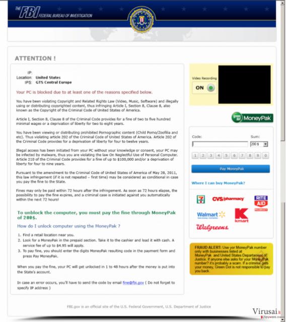 FBI Moneypak ekrano nuotrauka