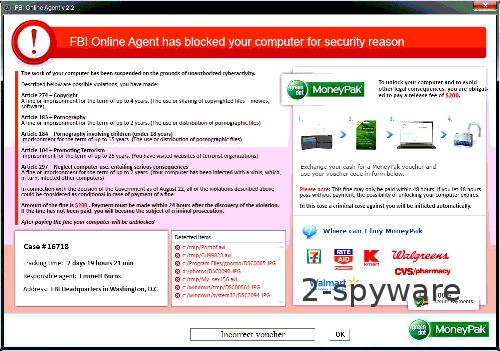 FBI Online Agent virusas ekrano nuotrauka