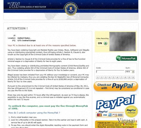 FBI PayPal virus ekrano nuotrauka