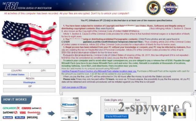 FBI System Failure virus ekrano nuotrauka